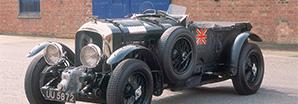 Front view of a black heritage model Bentley Blower | Bentley Motors