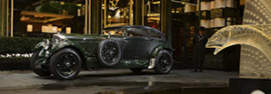 The iconic Bentley 'Blue Train' parked in front of a luxurious 5-star hotel   Bentley Motors