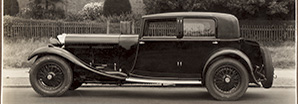 A black and white side profile image of a heritage Bentley 8-Litre | Bentley Motors