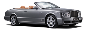 The metallic grey Bentley Azure T with the roof lowered | Bentley Motors