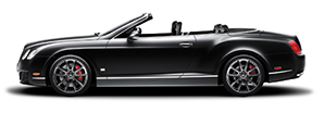 A side view of the black Bentley Continental GT Convertible with the roof lowered | Bentley Motors