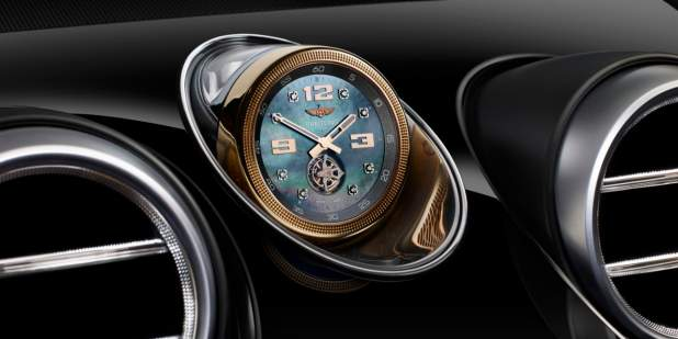 Breitling Tourbillon Clock In Between Two Air Vents Of A Bentley Bentayga Sel Suv