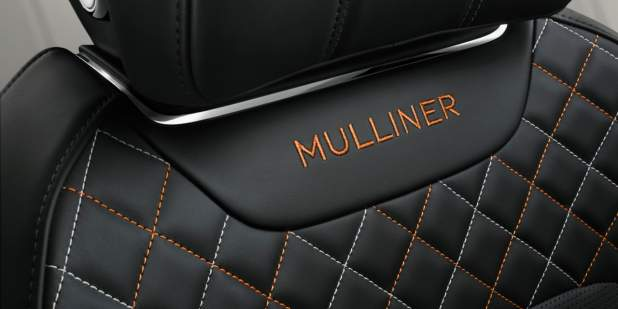 Car seat embroidery of the Bentley Bentayga Mulliner badge | Bentley Motors