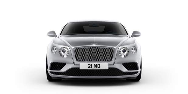 Front profile view of a silver Bentley Continental GT grand tourer | Bentley Motors