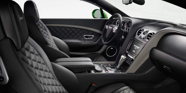 The Continental GT Speed front cabin with black leather interior and quilted seats | Bentley Motors