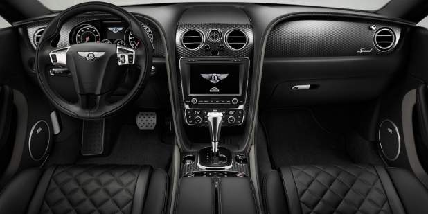 Centre console of the Continental GT Speed with black leather interior | Bentley Motors