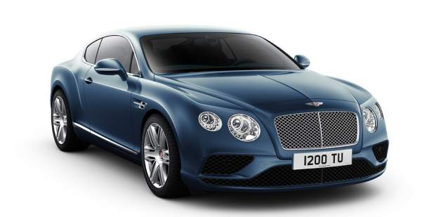 Complete exterior view of a dark blue Continental GT V8 luxury car | Bentley Motors