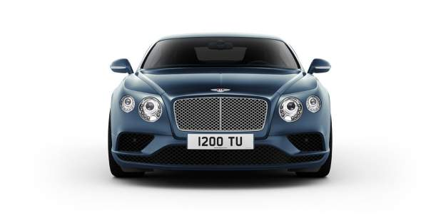 Front view of a dark blue Continental GT V8 luxury saloon | Bentley Motors