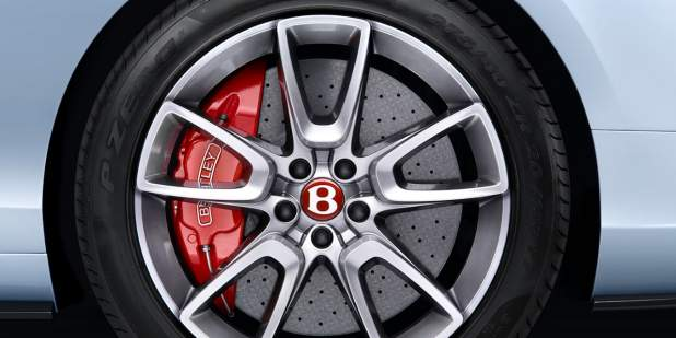 Close up of a Bentley Continental GT V8 S wheel with red brake caliper | Bentley Motors