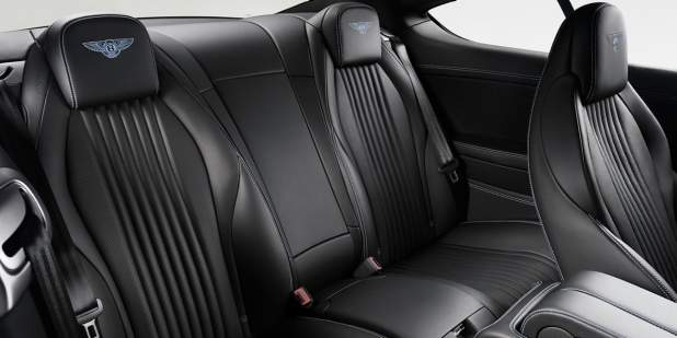 Bentley Continental GT V8 S rear leather seats with blue stitched Bentley logo | Bentley Motors