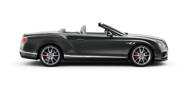 Side of a dark grey Bentley GT V8 S Convertible with lowered roof | Bentley Motors