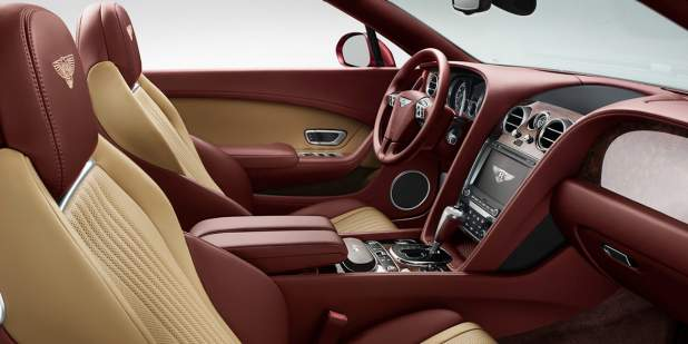Bentley Continental GT V8 Convertible front cabin with red and tan leather interior | Bentley Motors