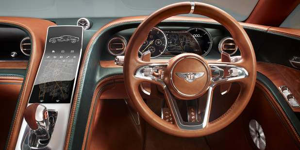 Dashboard and steering wheel in a Bentley EXP 10 Speed 6 Concept Car | Bentley Motors