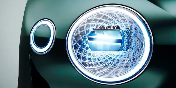 Close up of a green Bentley EXP 10 Speed 6 Concept Car headlamp | Bentley Motors