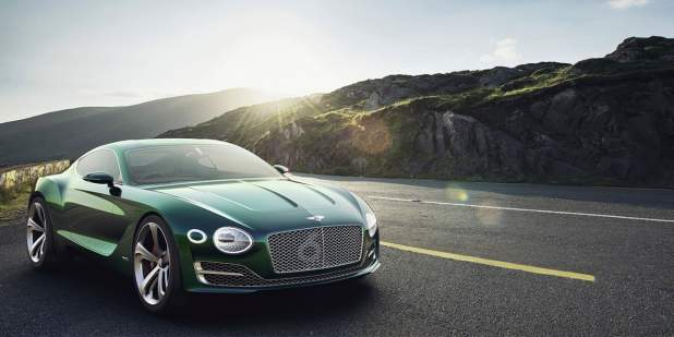Emerald green Bentley EXP 10 Speed 6 Concept parked on a mountain road | Bentley Motors
