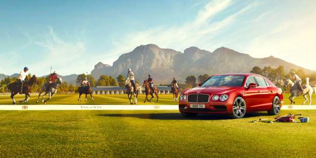 Red Bentley Flying Spur V8 S amongst polo players on horses | Bentley Motors