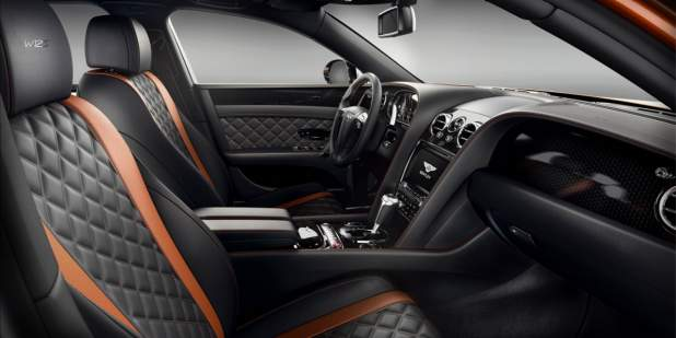 Bentley Flying Spur W12 S front cabin with black and orange quilted seats | Bentley Motors