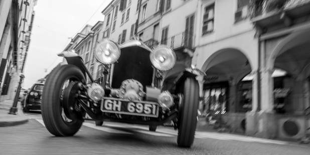 Black and white photo of a heritage model Bentley Blower | Bentley Motors