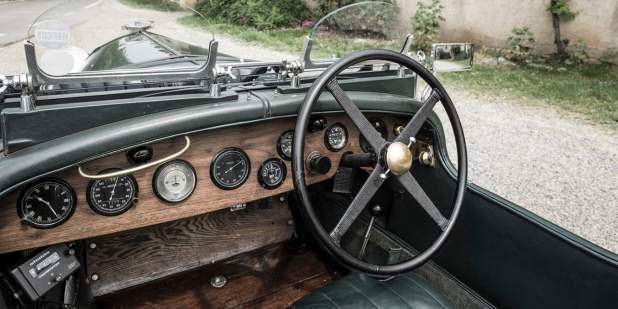 Front cabin of a heritage Bentley Blower with wood finish | Bentley Motors