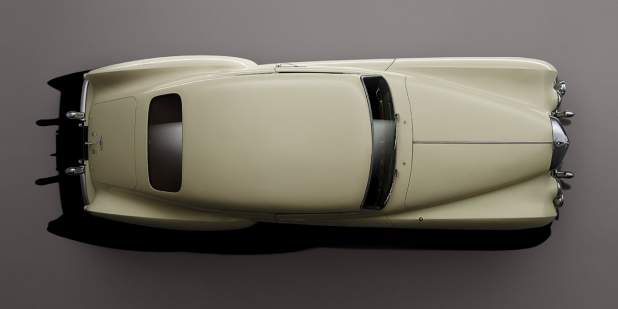 Aerial view of an ivory heritage Bentley R Type Continental | Bentley Motors