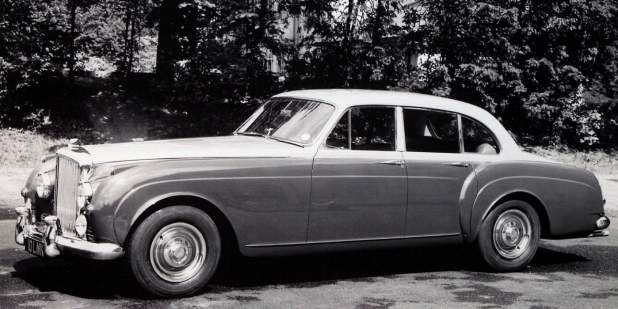 A black and white photo of a heritage Bentley S1 Continental Flying Spur | Bentley Motors