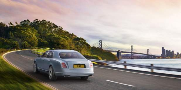 Light blue Bentley Mulsanne on the way to Golden Gate Bridge | Bentley Motors