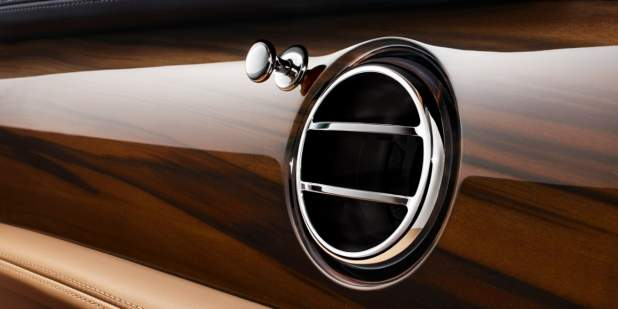 Silver air vent and veneer finish on a Bentley Mulsanne | Bentley Motors
