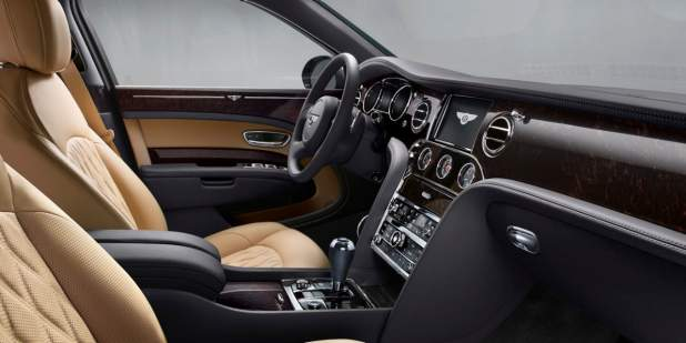 Mulsanne Extended Wheelbase front cabin with aubergine and tan leather interior | Bentley Motors