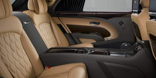 Rear leather seats in the Bentley Mulsanne Extended Wheel Base with quilting | Bentley Motors
