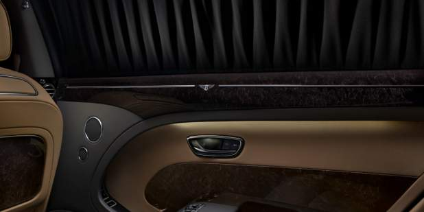 A close up of a Bentley Mulsanne Extended Wheelbase rear blinds | Bentley Motors