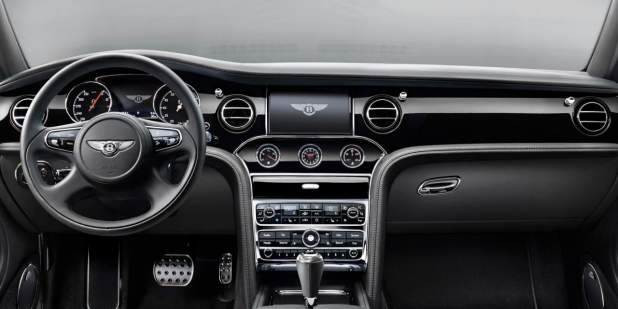 View of the Bentley Mulsanne Speed dashboard with all black leather finish | Bentley Motors