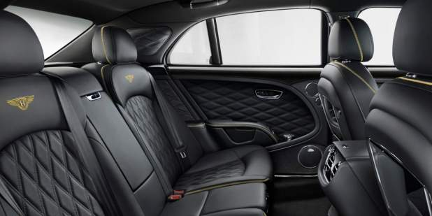All black rear leather interior with yellow contrast stitching in a Bentley Mulsanne Speed | Bentley Motors