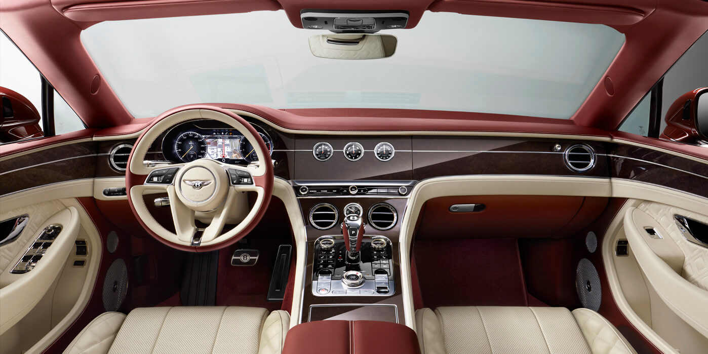 New Continental GT Convertible front interior and console with quilted leather and wood veneer