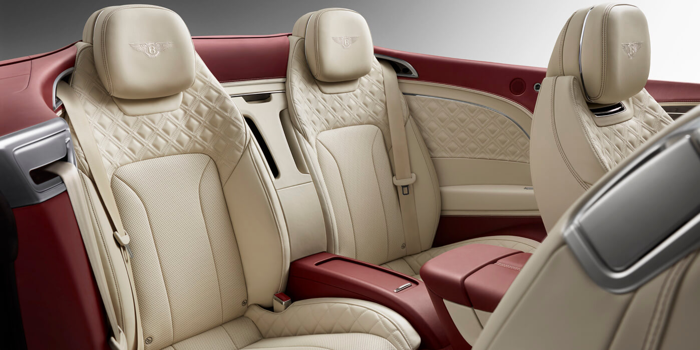 Rear interior of new Continental GT Convertible with quilted leather