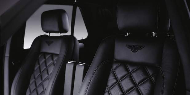 Bentley Arnage T front cabin with black quilted seats embroidered with Bentley logo | Bentley Motors