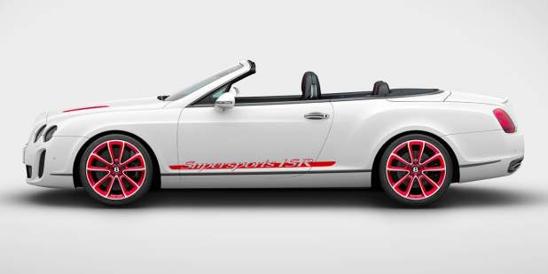 Side of a red and white Bentley Continental Supersports Convertible 2011 with lowered roof | Bentley Motors