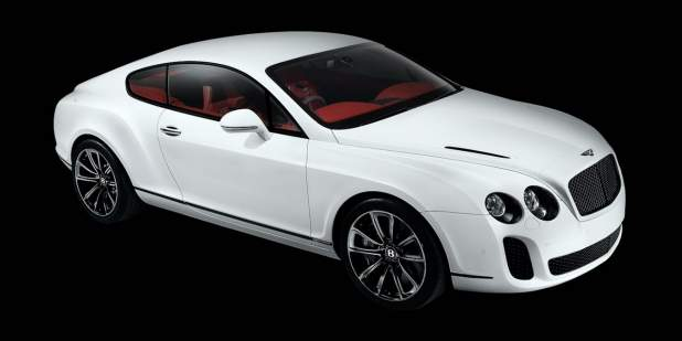 Aerial View Of A White Bentley Continental Supersports With Red Leather Interior Motors