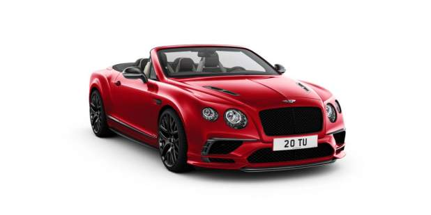 Front of a red Bentley Continental Supersports Convertible car with the top down | Bentley Motors