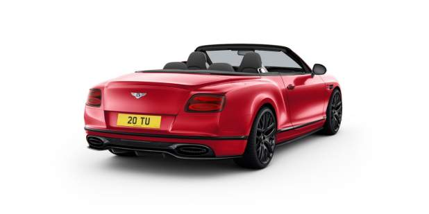 Rear view of a red Bentley Continental Supersports Convertible with the top down | Bentley Motors