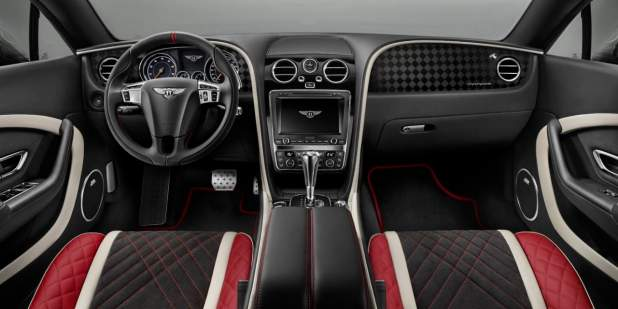 Bentley Continental Supersports front cabin with tri-tone quilted seats and diamond pattern veneer | Bentley Motors