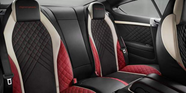 Bentley Continental Supersports rear cabin with black, red and white leather quilted seats | Bentley Motors