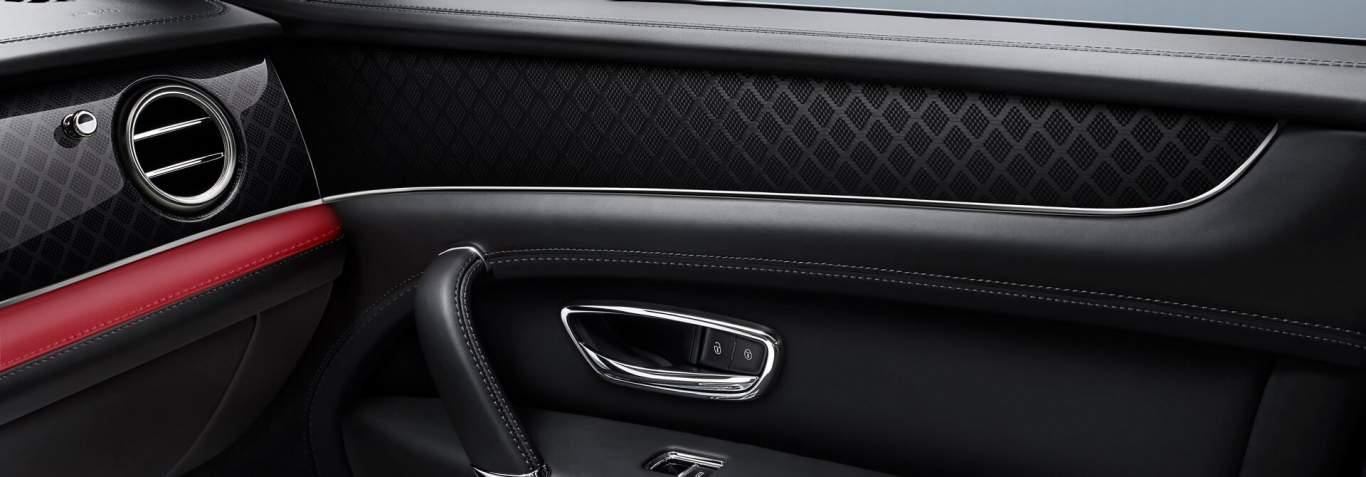 Bentley-Bentayga-Design-Series-front-interior-pillar-box-red-veneer-close-up
