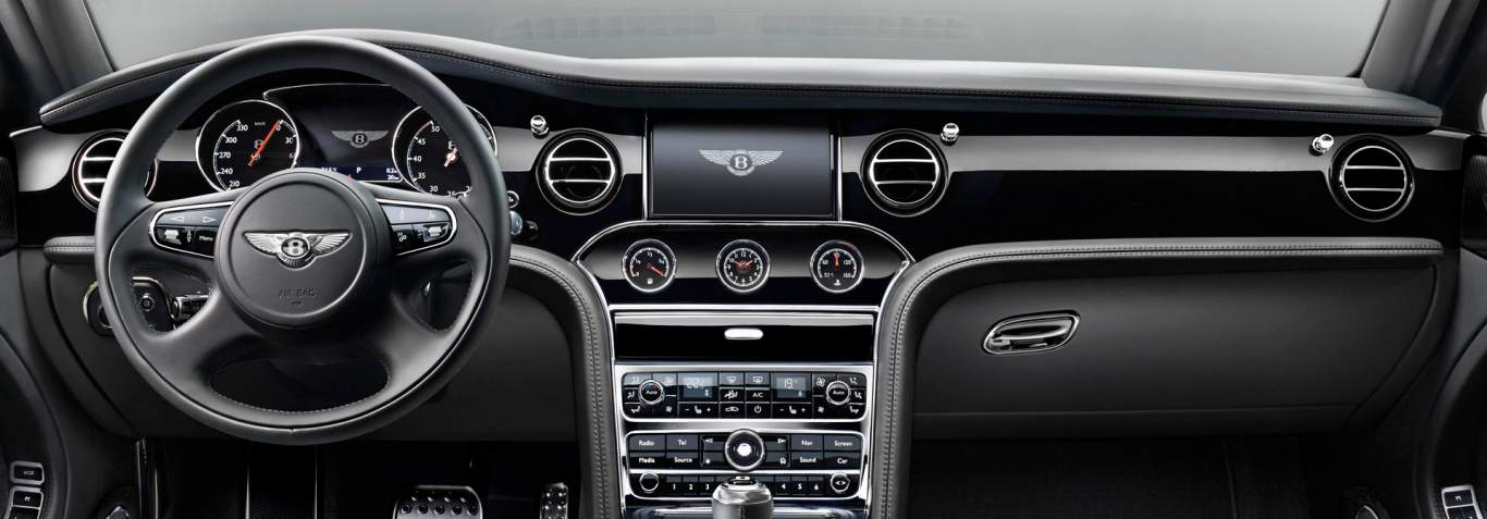 view of the bentley mulsanne speed dashboard with all black leather finish bentley motors