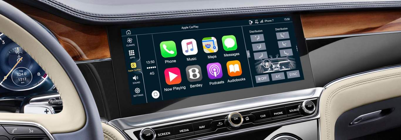 New Bentley Continental GT 2017 rotating display detail showing connected car options including Apple Car Play