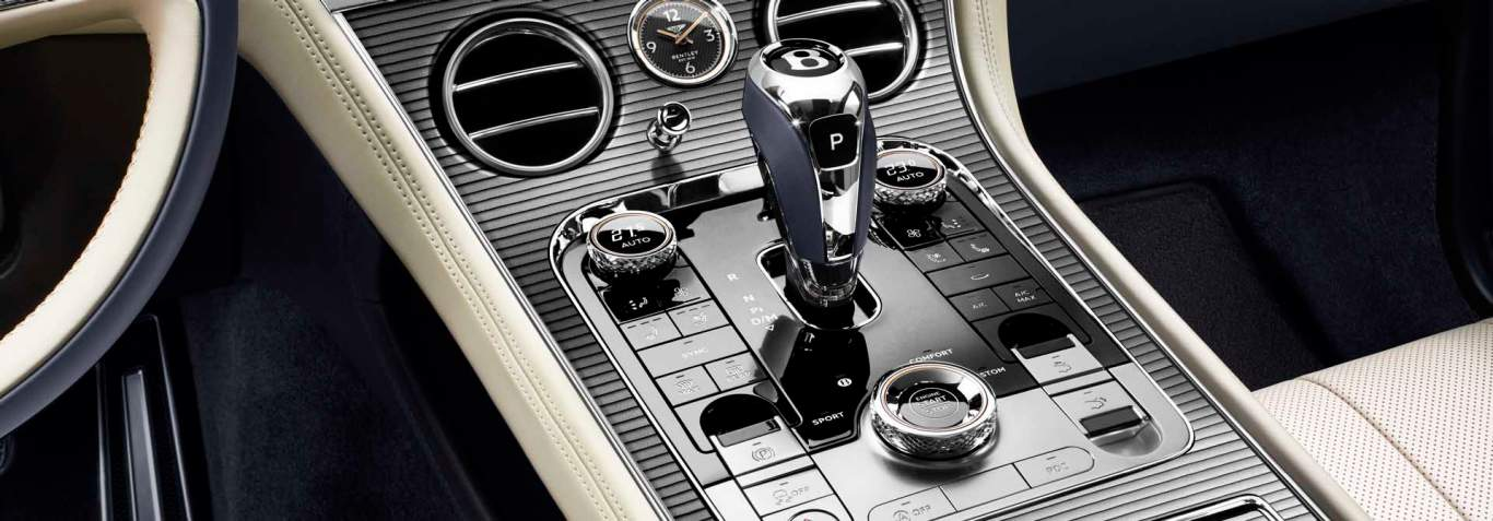 New Bentley Continental GT 2017  front centre console in special edition striped metal veneer named Cotes de Geneve
