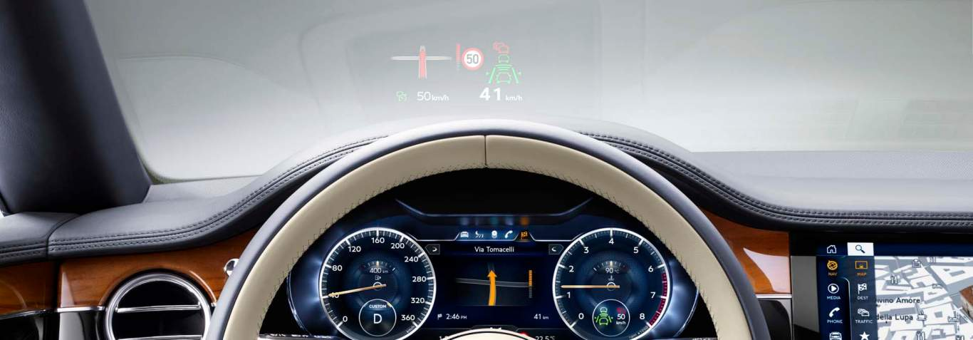 New Bentley Continental GT 2017 view from steering wheel showing head up display mode