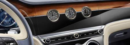 New Bentley Continental GT 2017 rotating central display shown with three analogue dials