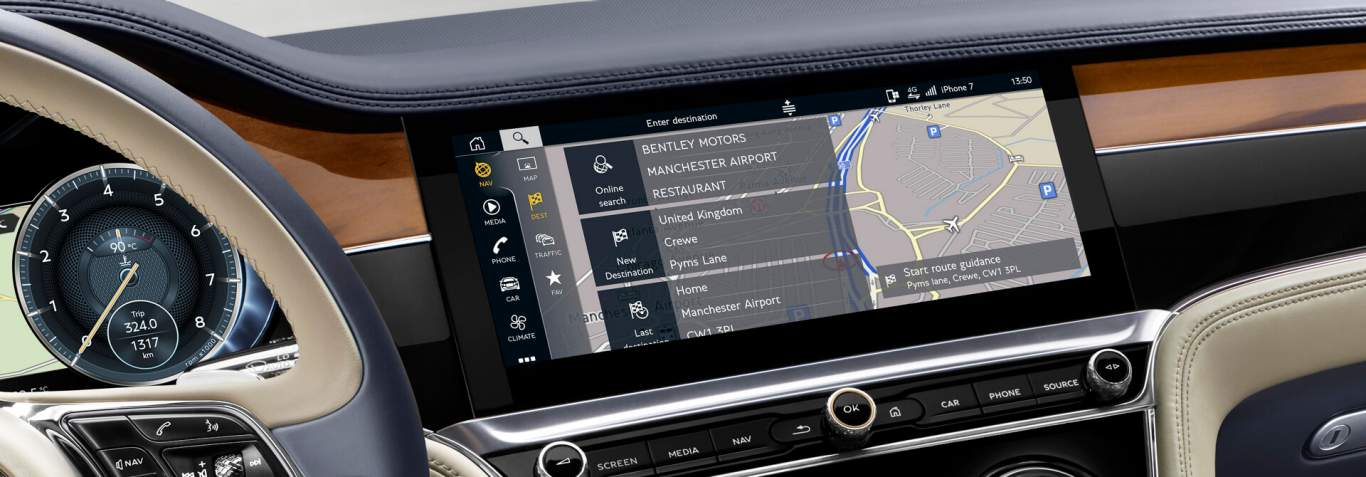 New Continental Gt Interior Console Connected Services Real