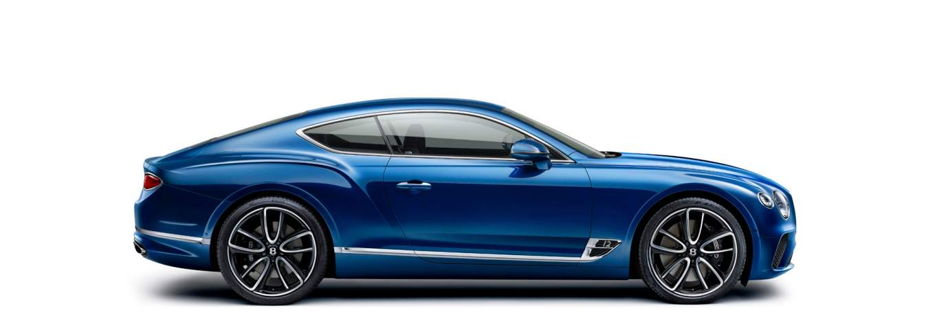 New Bentley Continental GT 2017 in Sequin blue colour, shown from the side facing to the right