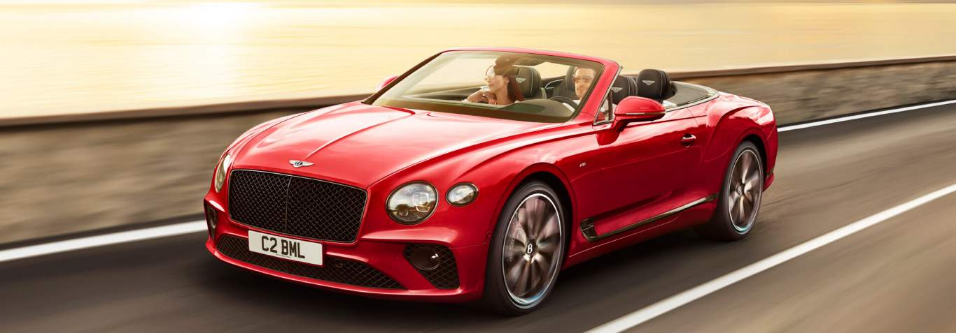 Continental Gt Convertible Driving By Sea Close Crop